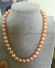 Beautiful 10-11 mm gold pink south sea pearl necklace 18 inch 14k clasp
