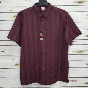 Haggar Mens Button Up Shirt Wine Short Sleeves XXL Striped Easy Care Pocket New