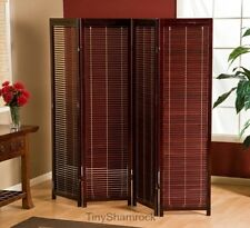 Room Divider Screen 4 Panel Brown Wood Shutters Folding Freestanding Privacy