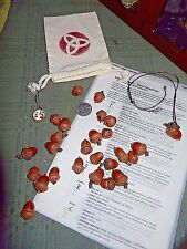 Elder Futhark 24 Rune Set Pyro Wood  Red Oak Acorns  Muslin Bag  Magick Wicca