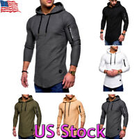Men Long Sleeve Casual Tops Muscle Shirts Slim Fit Hooded T-shirt Hoddies Tee