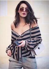 Zara Women's Striped Wrap Top - Size M