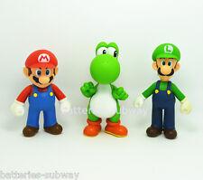 "3 pcs/Lot New Super Mario Bros Brothers Luigi Yoshi Toy Action Figures 5"" 13cm"