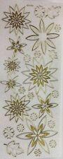 Gold White Glitter Mixed Flower Leaf Daisy Craft Stickers Scrapbook 180008G