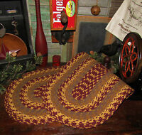 """Primitive Natural Cotton Braided 36"""" TABLE RUNNER Trivet/Placemat Oval #341"""