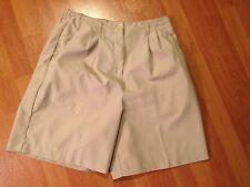 Golf Shorts Izod Club Size 10 Beige Microfiber Pleats Pockets High Waisted