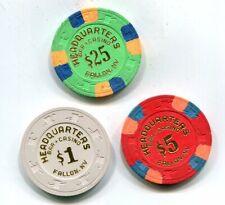 $1-$5 And $25 Headquarters Bar & Casino Fallon Nevada Gambling Chips