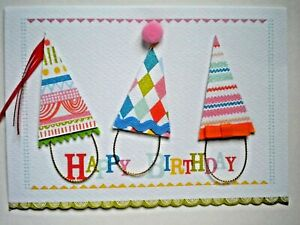 "C.R.Gibson ~ GLITTERY PARTY HATS ""HAPPY BIRTHDAY"" GREETING CARD + ENVELOPE"