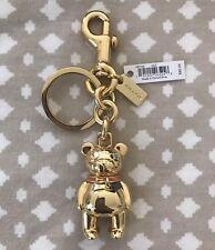 NWT Coach 3D Metal Teddy Bear Gold Peach Bow Keychain Bag Charm Ring Fob F87166