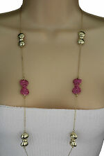 New Women Long Necklace Gold Thin Metal Chains Pink Bows Pendant Fashion Jewelry
