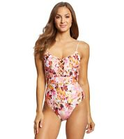 La Blanca Painted Love Laceup One Piece Swimsuit Pink Rose Size 4 NWT $119
