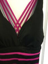NWT Womans Swimsuitsforall Full Body Swimsuit Maillot Black Fuchsia  Sz 16