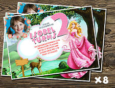 Personalised Party Invitations/ thank you cards Sleeping Beauty Princess Aurora