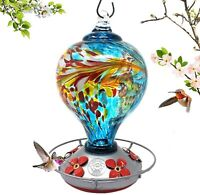 Grateful Gnome - Hummingbird Feeder - Hand Blown Glass - Blue Egg with Flowers