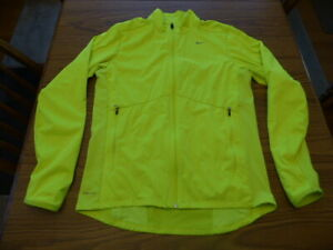 Nike Running Hi Viz Yellow Green Lime Full Zip Jacket Men's Medium Very Good