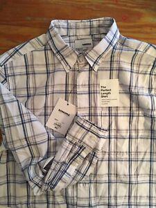 Sonoma Mens Shirt Plaid Blue White Gray Button Down Long Sleeve Size M