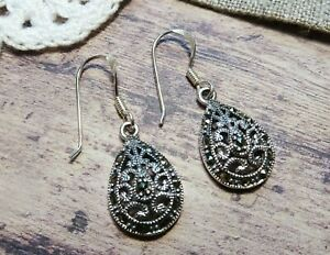 My S Collection 925 Sterling Silver & Marcasite Teardrop Earrings