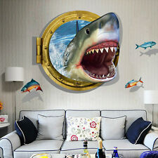 Latest Amazing 3D Shark Wall Stickers Home Decor for Guys Room Adventure Wallpap
