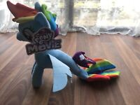 My Little Pony The Movie Seapony Rainbow Dash Plush Soft Toy Teddy RARE MLP