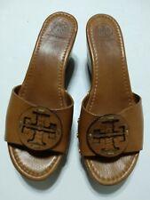 TORY BURCH Slide On Logo Platform Wedge Brown Tan Pebble Leather Sandals Sz 9.5