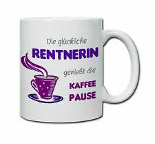 Keramiktasse mit Spruch Glückliche Rentnerin  Abschied Rente Ruhestand