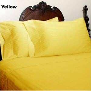 Yellow Striped Queen Size 4 Pc Sheet Set 1000 Thread Count 100% Egyptian Cotton