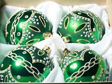 Exclusive set (4) hand blown green glass Christmas tree baubles rhinestones