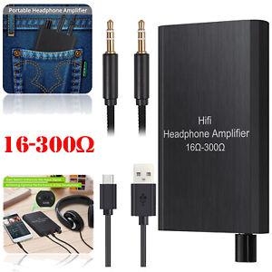 16-300Ω HIFI Headphone Amplifier Portable Earphone AMP 3.5mm w/ Audio USB Cable