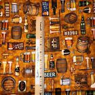 QT On Tap Beer Mugs Motifs 100% cotton fabric by the yard 36 x 44 28419 S Sand
