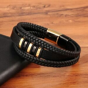 3Layers Punk Style Design Leather Bracelet Stainless Steel Magnetic Man Bracelet