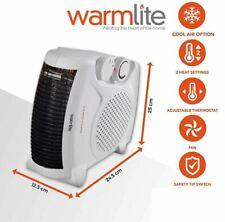 WARMLITE PORTABLE ELECTRIC FLAT FAN HEATER FIRE 2 HEAT SETTINGS 2000W 2KW WHITE