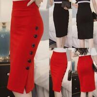 Plus Size Women Long Pencil Skirt High Waist Stretch Bodycon Maxi Button Dress