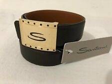 Santoni Italy Men's Pebbled Leather Belt Brown w/Gold Buckle Size 38in/95cm
