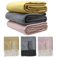 Arran Throw Blankets Luxury Wool Feel Super Soft Cosy Tassel Fringe Throws