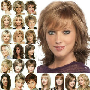 Women Ladies Short /Long Bob Wavy Hair Wig Real Natural Curly Straight Full Wigs
