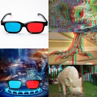 Black Frame Red Blue 3D Glasses For Dimensional Anaglyph Movie Game DVD 1 Pair