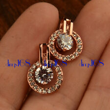 18K Rose Gold Filled Double Circle Round Crystal Micropave Stud Post Earring HG4