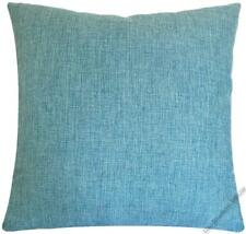 Aqua Blue Cosmo Linen Decorative Throw Pillow Cover/Cushion Cover 18x18""