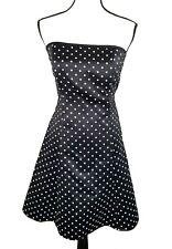 Jessica Mcclintock Gunne Sax Black White Polka Dot Strapless Pin Up Dress 9/10