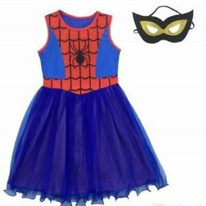 Girls Spidergirl Costume Dress Up Superhero Spider man Fancy Dress Size 4-11