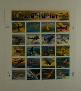 US SCOTT 3142 PANE OF 20 CLASSIC AMERICAN AIRCRAFT STAMPS 32 CENT FACE MNH