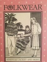 1980's VTG Folkwear Seminole Jacket and Skirt Pattern 127 Size S-L UNCUT
