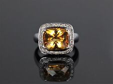 14K White Gold 0.35ct Fancy Brown VS Diamond Citrine Cocktail Ring Band 8.25