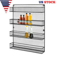 Wall Mount Black Metal 4 Tier Seasoning Rack Metal Kitchen Wire Organizer