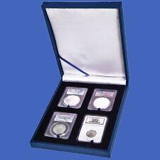 Display Box Four 4 Slab NGC/PCGS/Premier/Lil Bear Coin Guardhouse Leatherette