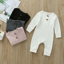 Newborn Infant Baby Boy&Girl Spring Long Sleeve Solid Romper Jumpsuit Clothes S