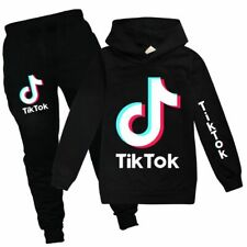 New Tik Tok Boys Girls Fashion Casual Cartoon Spring  Autumn Hoodie T-Shirt Set