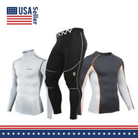 Men's COOVY Sports Compression Wear Under Base Layer Athletic Top Tights Short