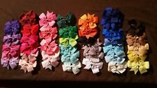 BOUTIQUE HAIRBOWS ON ALLIGATOR CLIPS! LOT OF 40 ASSORTED COLORS 3""