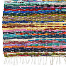 RAG RUGS 40X60 CM COTTON RECYCLED BEDROOM HOME OFFICE TRAVEL DOOR MAT